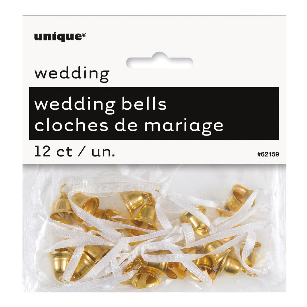 Gold Wedding Bell Favor Charms, 12ct