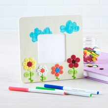 wood frame with button flowers