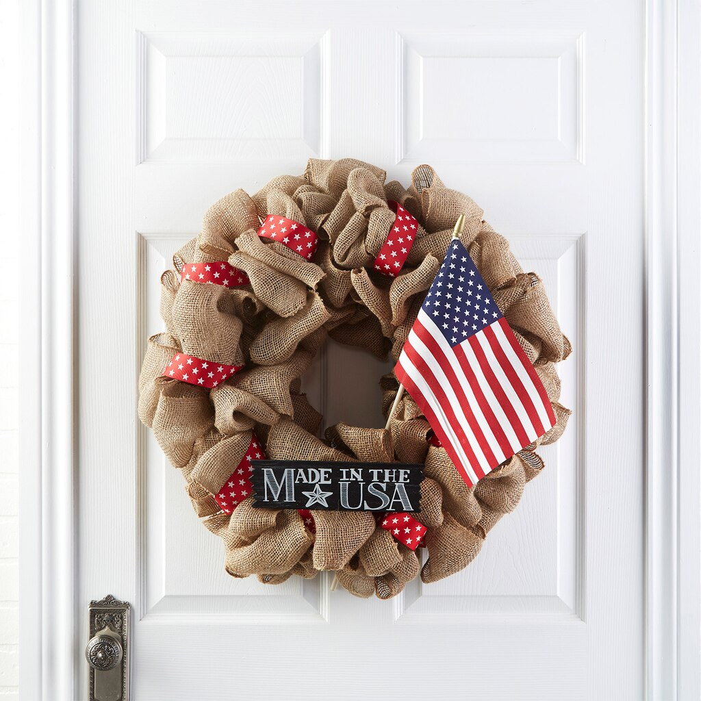 Celebrate america burlap wreath for How to decorate a burlap wreath for christmas
