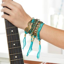 Metal and Turquoise Wrap Bracelet