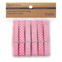 Recollections Craft It Patterned Clothespins, Pink