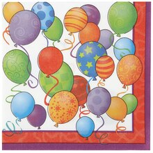 Birthday Balloons Beverage Napkins, 16ct
