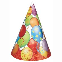 Birthday Balloons Party Hats, 8ct