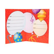 Birthday Balloons Party Invitations, 8ct