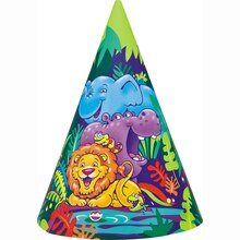 Smiling Safari Party Hats, 8ct