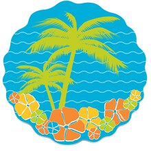 Paper Cut Out Island Paradise Summer Decorations, 8ct
