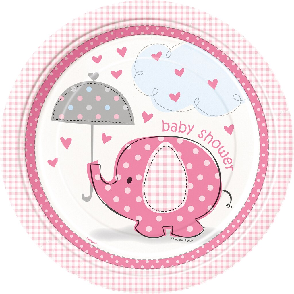 9 pink elephant baby shower dinner plates 8ct