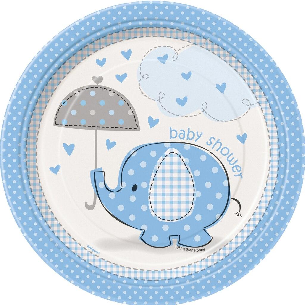 7 blue elephant baby shower dessert plates 8ct