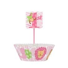 Pink Safari 1st Birthday Cupcake Kit for 24