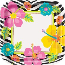 "9"" Square Wild Luau Dinner Plates, 8ct, medium"