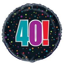 Foil Birthday Cheer 40th Birthday Balloon, 18""