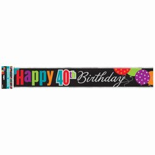 Foil Birthday Cheer 40th Birthday Banner, 12 Ft.