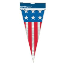 Stars and Stripes Patriotic Cone Cellophane Bags, 20ct