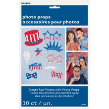 Patriotic Photo Booth Props, 10pc, packaging