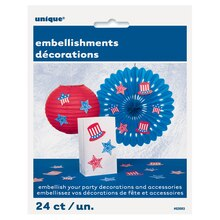 Paper Patriotic Party Embellishments, 24pc, packaging