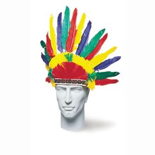 Multicolor Feather Indian Headdress