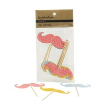 Recollections Craft It Mixed Mustache Cake Pick Signs