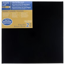 "Artist's Loft Necessities Black Canvas Value Pack, 12"" x 12"""