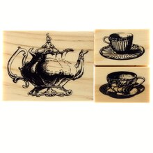 Tea Pot & Tea Cup Wood Stamp by Recollections