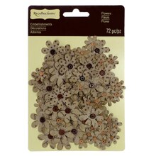 Kraft Paper Print Flower Embellishments by Recollections