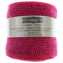 "Celebrate It Wired Burlap Ribbon, 4"" Fushchia"