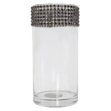 "7.5"" Cylinder Glass Vase with Bling by Ashland"