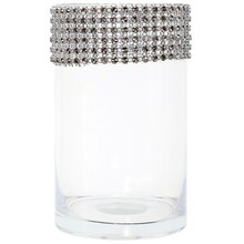 "5.9"" Cylinder Glass Vase with Bling by Ashland"