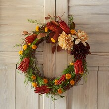 Dried Floral Grapevine Wreath, medium