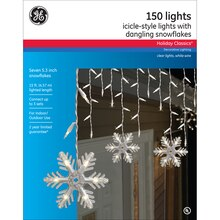 GE Holiday Classics Icicle-Style Lights, Dangling Snowflakes, Packaging