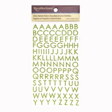 Recollections Glitter Alphabet Stickers, Block Citron