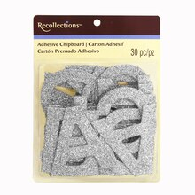 adhesive chipboard glitter alphabet stickers by recollections silver
