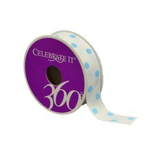 White with Blue Dots Grosgrain Ribbon by Celebrate It 360
