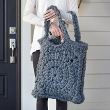 Chunky Granny Square Crochet Tote, medium