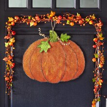 Burlap Pumpkin Door Hanger, medium