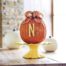 Glitter Initial Pumpkin, medium