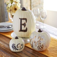 Bling Initial Pumpkin Trio, medium