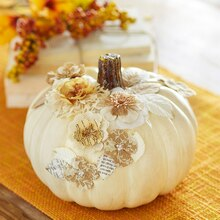Vintage Glam Paper Flower Pumpkin, medium