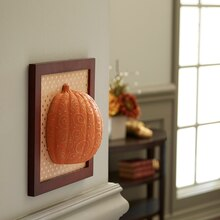 Framed Faux Embossed Half Pumpkin Wall Art, medium