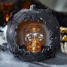 Black Carved Skull Pumpkin, medium