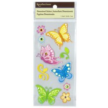 Multicolored Dimensional Butterfly Stickers by Recollections