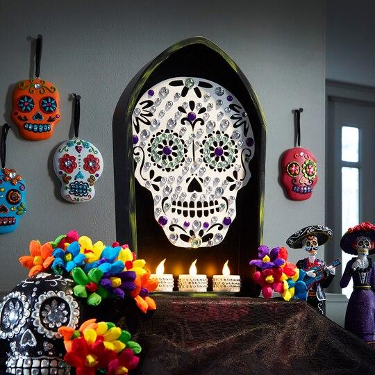 bling sugar skull coffin shadow box