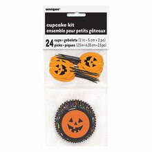 Pumpkin Face Halloween Cupcake Kit for 24