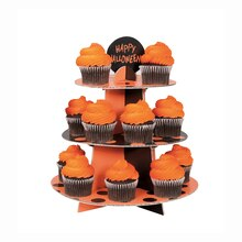 Orange and Black Polka Dot Halloween Cupcake Stand