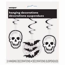 "26"" Hanging Skull & Bat Halloween Decorations, 3ct"