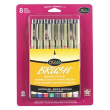 Sakura Pigma Brush Pen Set, Assorted Colors, 8 Pieces