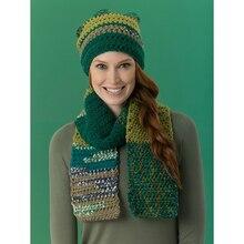 Lion's Pride® Woolspun® Crochet Scarf & Hat Forest (Level 2– Easy), medium