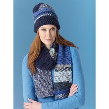 Lion's Pride® Woolspun® Crochet Scarf & Hat Ocean (Level 2 - Easy), medium