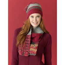 Lion's Pride® Woolspun® Crochet Scarf & Hat Campfire (Level 2 – Easy), medium