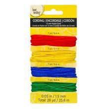 Darice Nylon Cord, Primary Colors