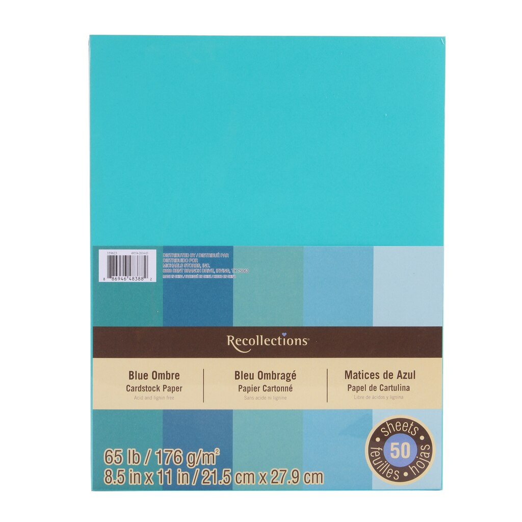 Multi colored cardstock paper - Blue Ombre Cardstock Paper 8 5 X 11 By Recollections